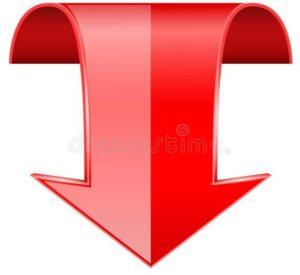 красная-стрелка-спуска-d-изогнутый-знак-126994868